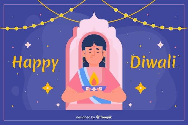 Diseño plano de fondo diwali con una mujer