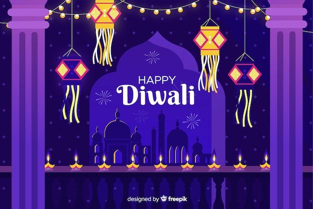 Diseño plano de fondo diwali