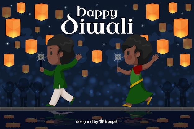 Diseño plano de fondo feliz diwali