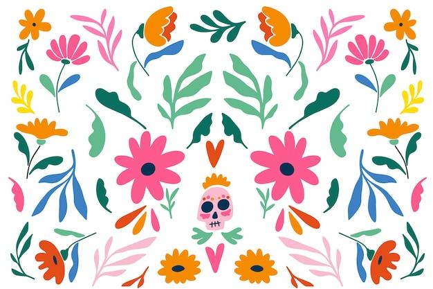 Diseño plano de fondo floral mexicano