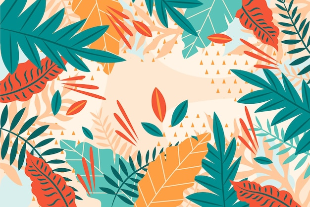 Diseño plano de fondo floral tropical