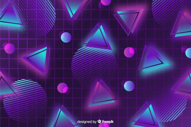 Diseño plano de fondo geométrico de los años 80.