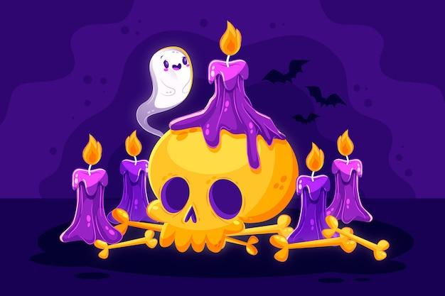 Diseño plano fondo de halloween con calavera y velas