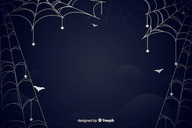 Diseño plano de fondo de halloween de telaraña