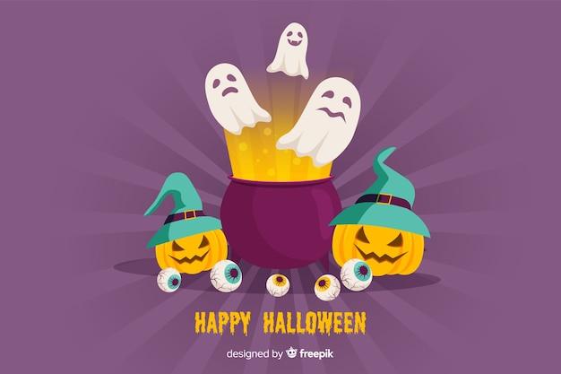 Diseño plano de fondo de halloween
