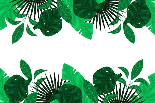 Diseño plano de fondo de hojas exóticas verdes