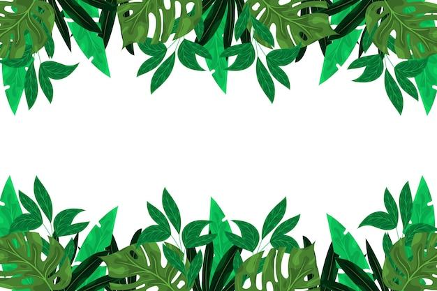 Diseño plano de fondo de hojas verdes exóticas