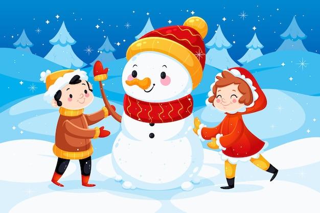 Diseño plano fondo de invierno con muñeco de nieve