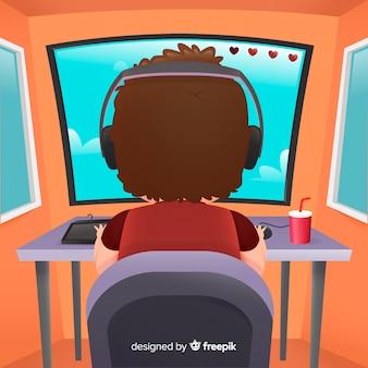 Diseño plano de fondo de jugador de computadora