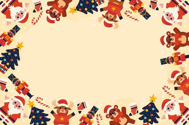 Diseño plano fondo de juguetes de navidad