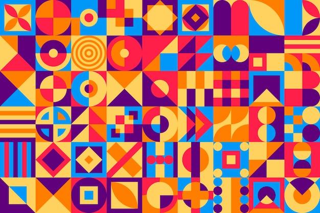 Diseño plano de fondo de mosaico colorido