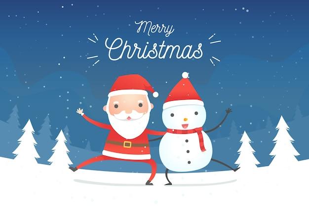Diseño plano fondo de navidad con santa y muñeco de nieve