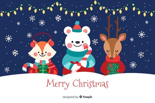 Diseño plano de fondo de navidad