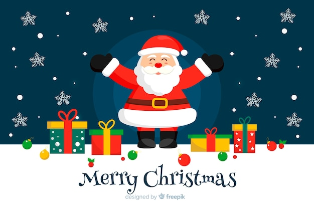 Diseño plano fondo de navidad