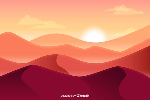 Diseño plano fondo de paisaje desértico