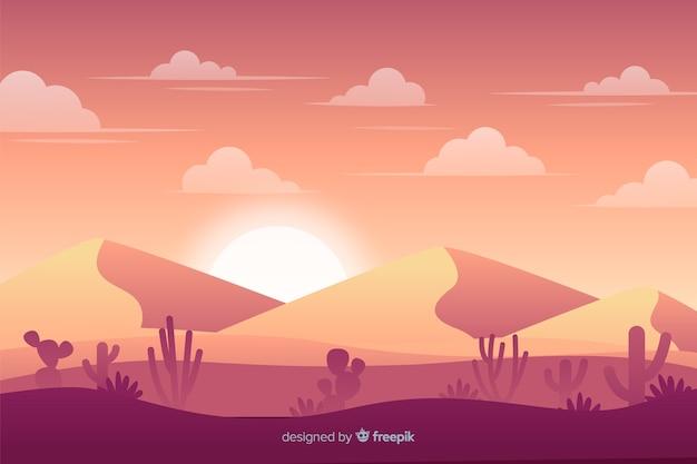 Diseño plano del fondo del paisaje del desierto