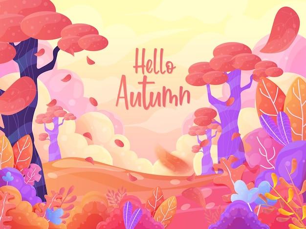 Diseño plano de fondo de paisaje de otoño