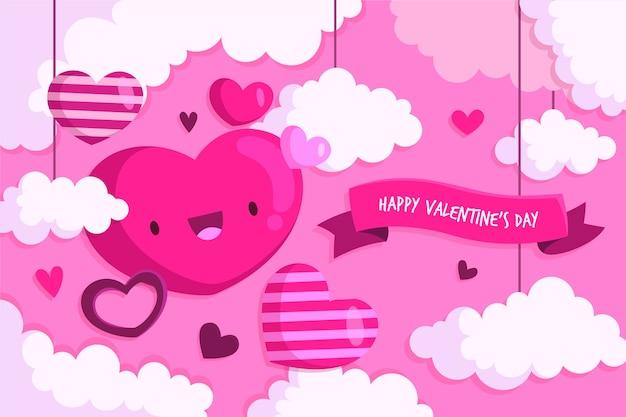 Diseño plano fondo de pantalla del día de san valentín