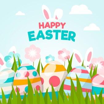 Diseño plano fondo de pantalla feliz día de pascua con huevos