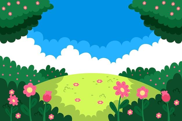 Diseño plano de fondo de primavera
