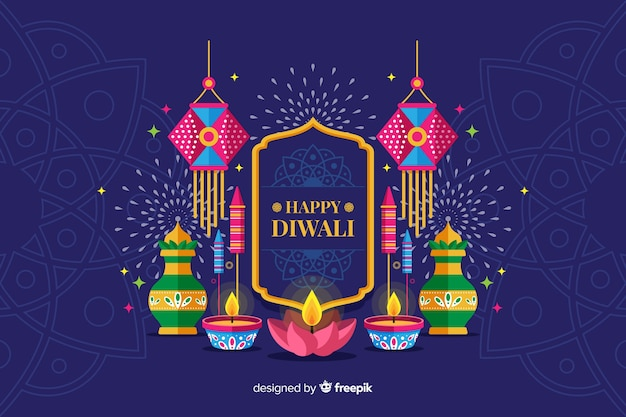 Diseño plano fondo de vacaciones diwali con velas