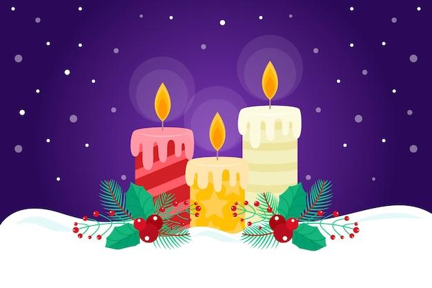 Diseño plano de fondo de velas de navidad