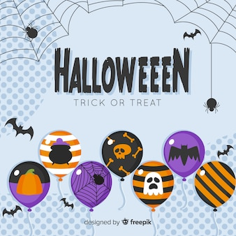 Diseño plano fondo de venta de halloween con globos