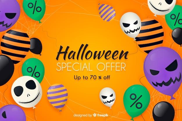 Diseño plano de fondo de venta de halloween con globos