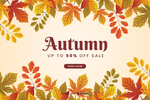 Diseño plano de fondo de venta otoño