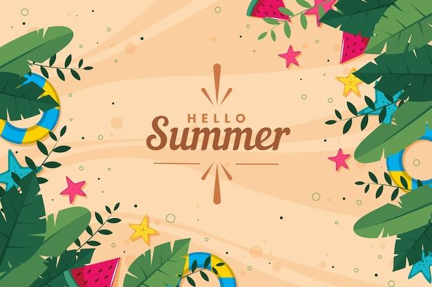 Diseño plano fondo de verano