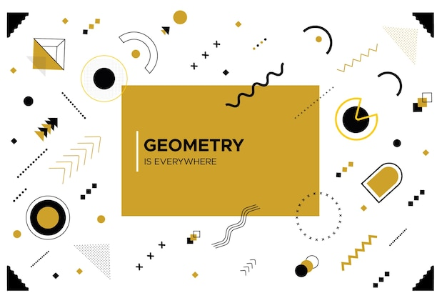 Diseño plano de formas geométricas y fondo blanco.