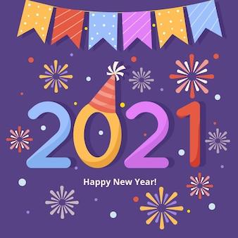 Diseño plano fuegos artificiales año nuevo 2021