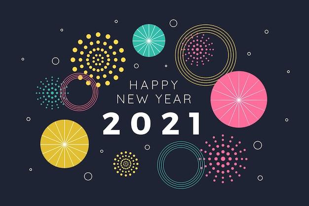 Diseño plano de fuegos artificiales feliz año nuevo 2021