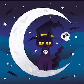 Diseño plano gato de halloween en la luna