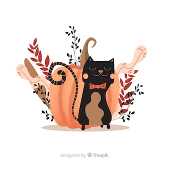 Diseño plano de gato de halloween