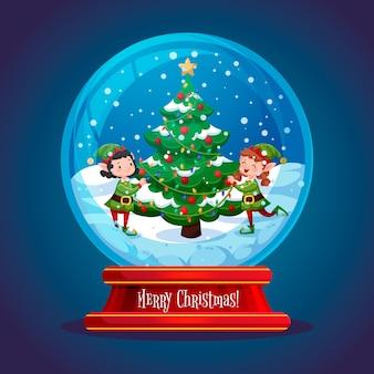 Diseño plano de globo de bola de nieve de navidad