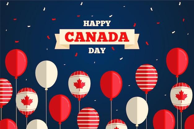 Diseño plano globos del día de canadá