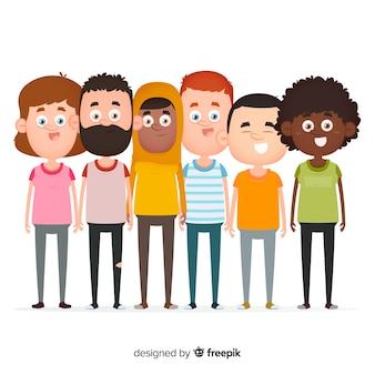 Diseño plano grupo multirracial de personas