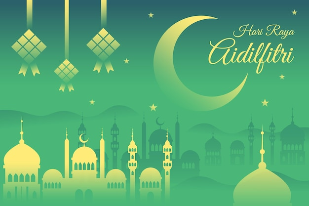 Diseño plano hari raya aidalfitri mezquita en la noche
