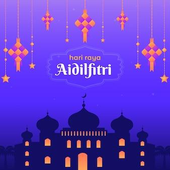 Diseño plano hari raya aidalfitri mezquita