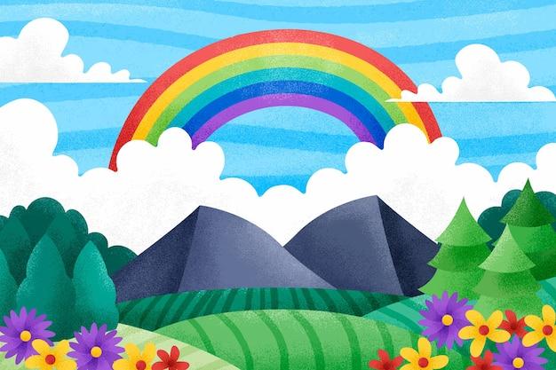 Diseño plano hermoso arco iris con flores.
