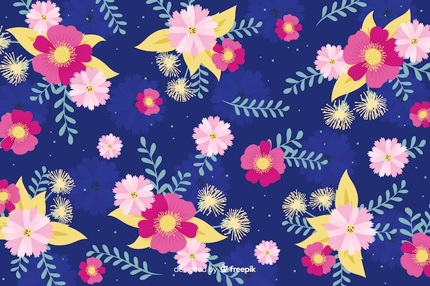 Diseño plano hermoso fondo floral