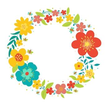 Diseño plano hermoso marco floral de primavera