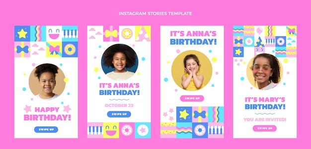 Diseño plano de historias de ig de cumpleaños de mosaico.