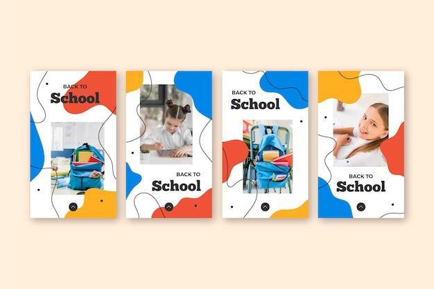 Diseño plano historias de instagram de regreso a la escuela
