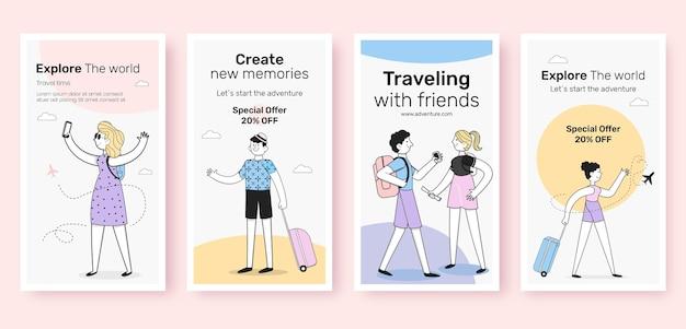 Diseño plano de historias de instagram de viajes.