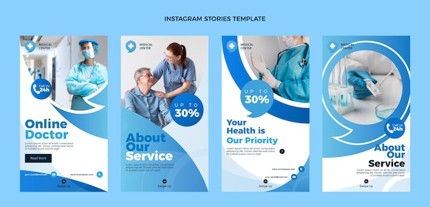 Diseño plano de historias médicas de instagram.