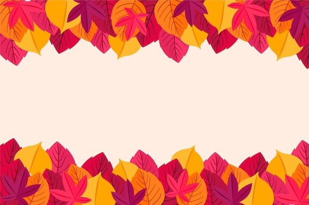Diseño plano hojas de otoño marco de fondo