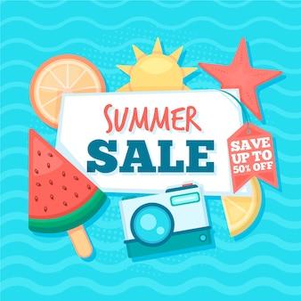 Diseño plano hola banner de venta de verano