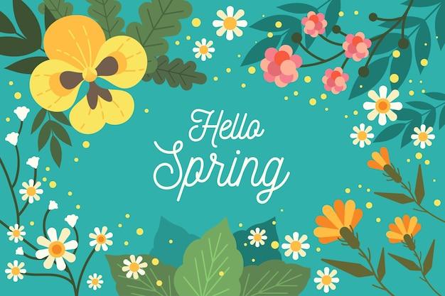 Diseño plano hola fondo de primavera